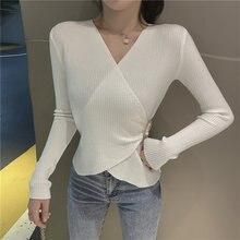 Корейский женский свитер белые свитера для женщин вязаный с