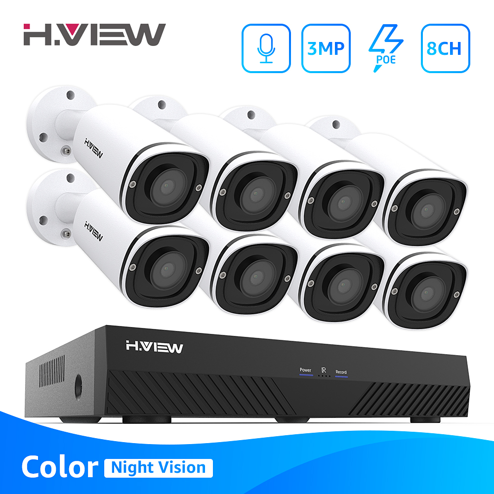 H.View Full Color Poe Ip Camera Kit 8Ch Video Surveillance Security System 3Mp Outdoor Audio Record H.265 Nvr Camera Cctv Set image
