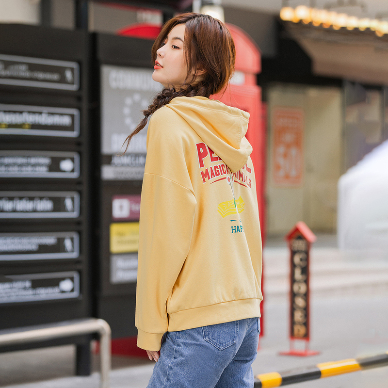 INMAN 2020 Spring New Arrival Solid Color Drawstring Hoodies Off Shoulder Casual Fashion Sweatshirt
