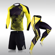 Ensemble de vêtements de Sport 3 pièces pour hommes, combinaison d'entraînement, de gymnastique, Fitness, Compression, course, Jogging, exercice Rashguard
