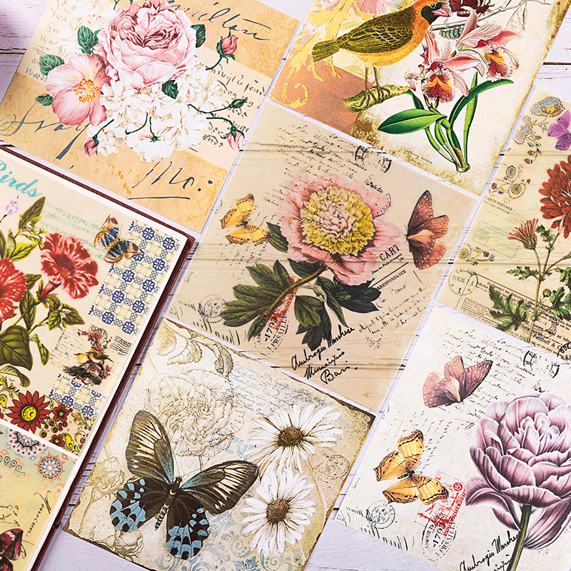 8pcs/Set Vintage Bird Butterfly Flower Vellum Paper Pattern Pad For Scrapbooking Happy Planner Card Making Junk Journal Project