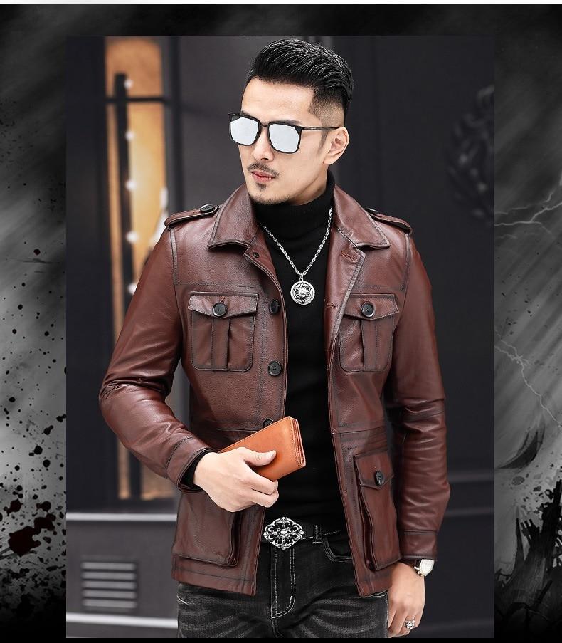 Free Shipping,2019 New Casual Leather Jacket.fashion Man Genuine Leather Coat.quality Cowhide Jackets.vintage Leather Jacket