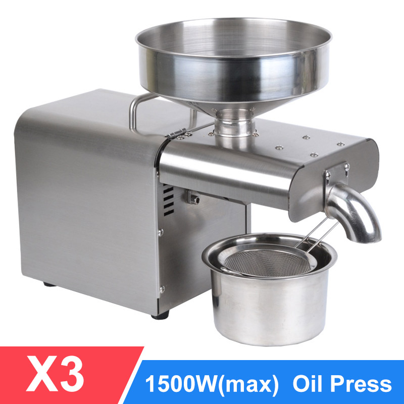 Oil Press Automatic Household FLaxseed Oil Extractor Peanut Oil Press Cold Press Oil Machine 1500W (MAX)