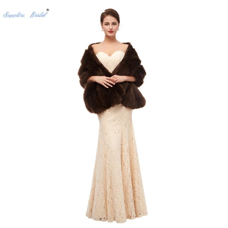 Sapphire Bridal Women's Dark Brown Fashion Faux Fur Wrap Handmade Winter Outwear Shawl Wedding Cover Up Jacket 2019 New