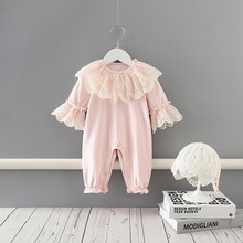 Baby Girl Autumn Clothing Lace Embroidery Flare Sleeve Princess Rompers Jumpsuits newborn infant clothes for birthday party 0-2Y