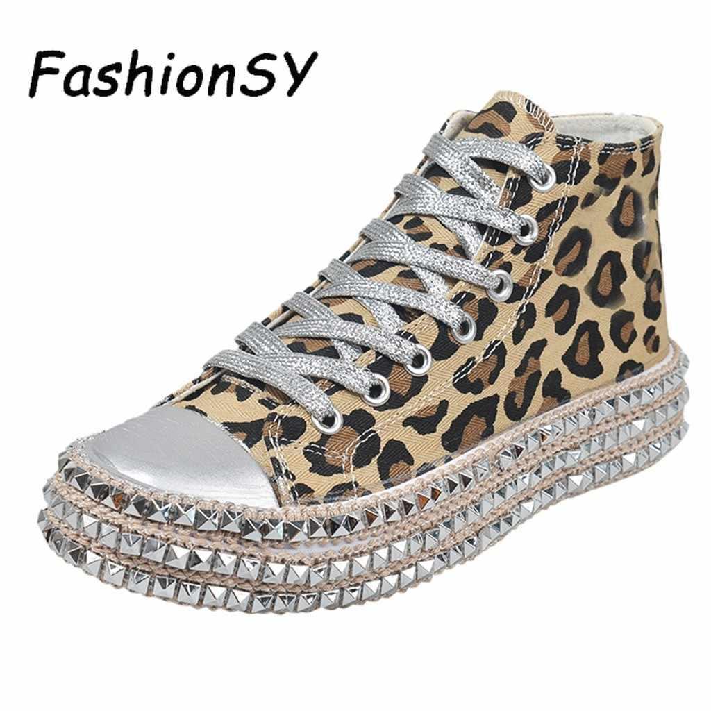 Obuwie damskie na co dzień mieszkania kobieta zasznurować buty za kostkę kobieta Leopard liny konopne grube dno brezentowych butów kobieta