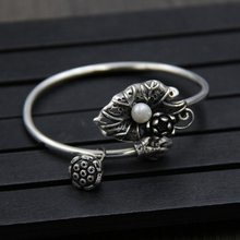 925 Sterling Silver Lotus Leaf with Pearl Lady Open Bracelet Trendy Three-dimensional Summer Wind Dew Jewelry On