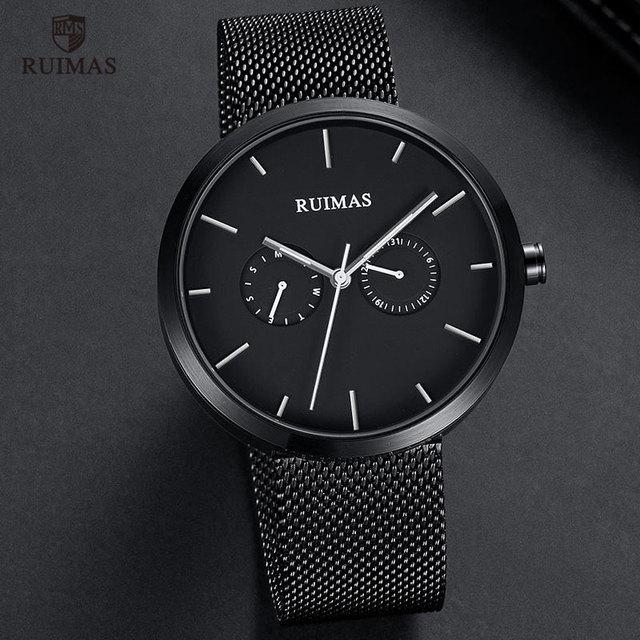 RUIMAS Steel Mesh Belt Watch Causal Fashion Thin