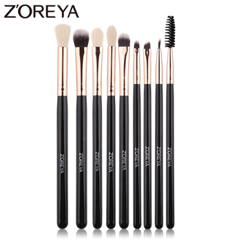 ZOREYA Eye Shadow Blending Conlealer Angled Brow 9Pcs Eye Makeup Brushes Set Soft Synthetic Hair Make Up Beauty Tool