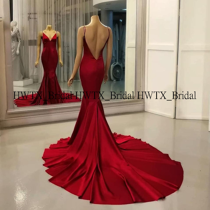 HWTX_Bridal Sexy Backless Mermaid Evening Dress With Long Train Spaghetti Straps Red Satin Celebrity Formal Party Evening Dress