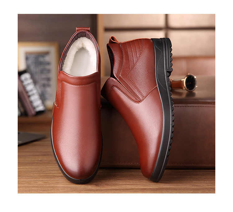 Leder Chelsea Stiefel Männer Winter Schuhe Plüsch Warme Schuhe Mode Zipper Booties Herren Stiefeletten Schwarz Booties 2019