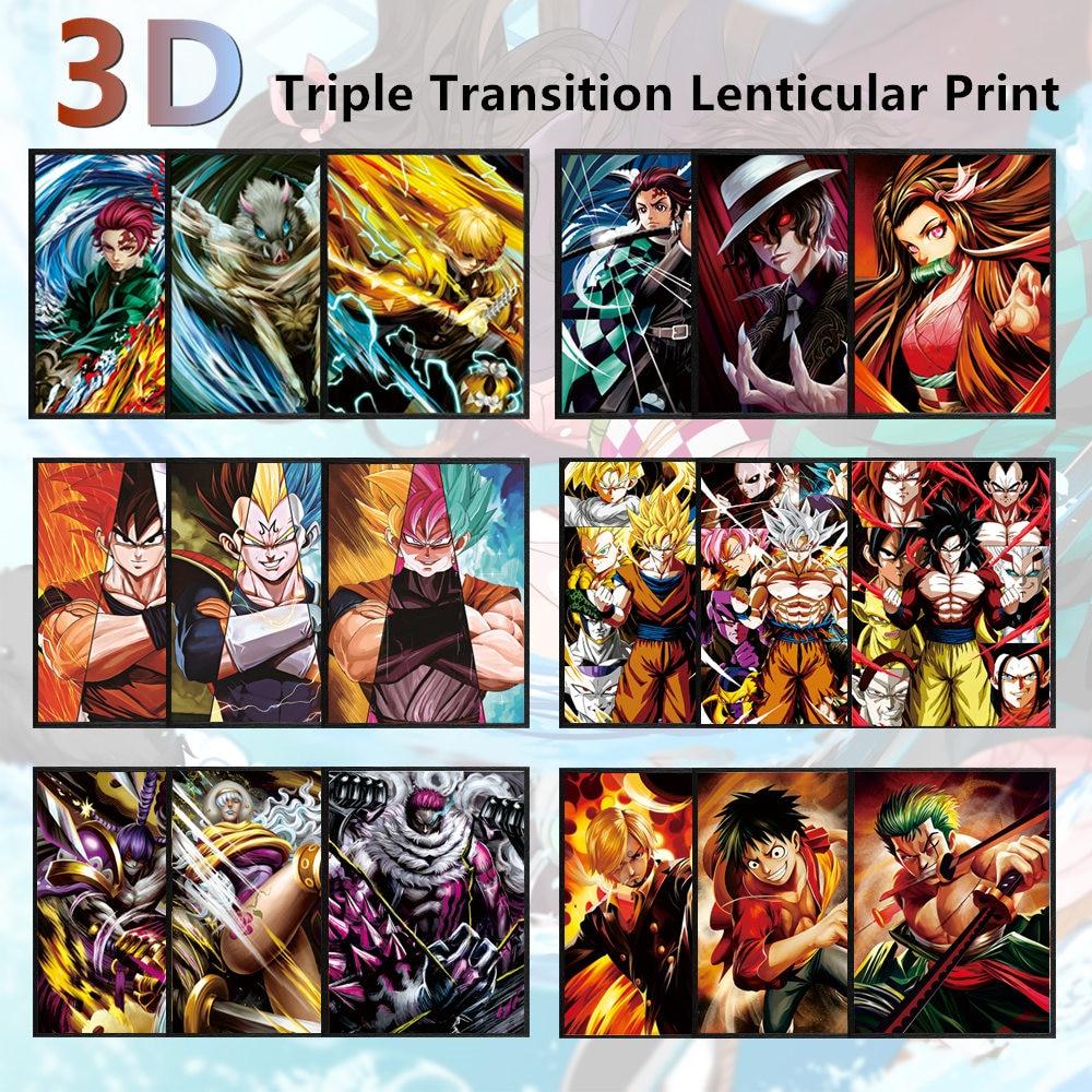 Dragon ball 3d lenticular cartaz de uma peça 3d pinturas da arte da parede naruto anime 3d tridimensional pinturas decoração da parede 3d impressão