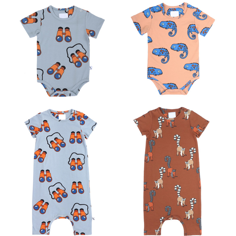 Baby Bodysuits 2020 CarlijnQ Brand New Summer Infant Boys Girls Cartoon Print Jumpsuits Newborn Cotton Homewear Clothes