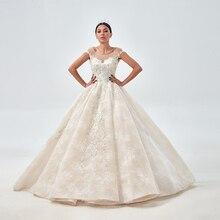 Royeememo 화려한 아플리케 채플 기차 레이스 볼 가운 웨딩 드레스 2020 아가씨 민소매 페르시 공주 신부 가운