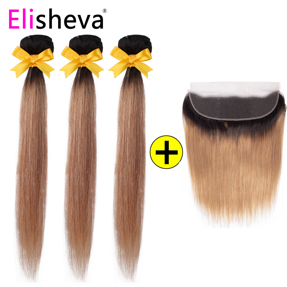 1B 27 Ombre Bundles With Frontal 13x4 Remy Peruvian Colored Straight Hair Honey Blonde 3 Bundles with Closure Human Hair-in 3/4 Bundles with Closure from Hair Extensions & Wigs    1