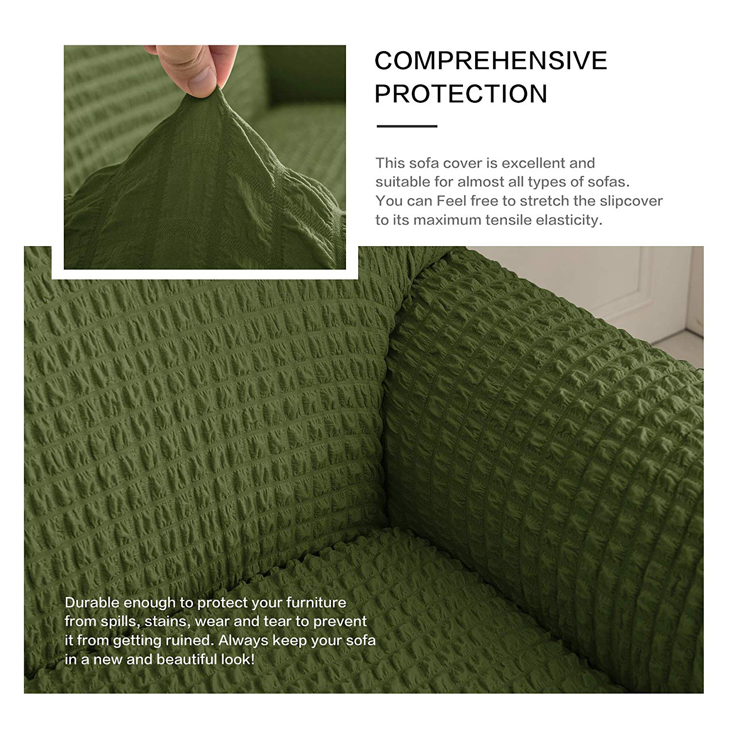 Elastic Sofa Cover with 3D Plaid and Elegant Skirt Slipcover for Universal Sofa of Home Hotel and Office 10