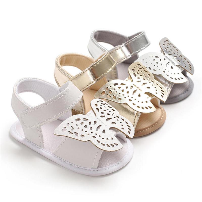 Baby Shoes Girl Summer Sandals Soft Anti-Slip Sole Big Butterfly Gold Silver Hook&loop Light Crib Newborn First Walker Shoes