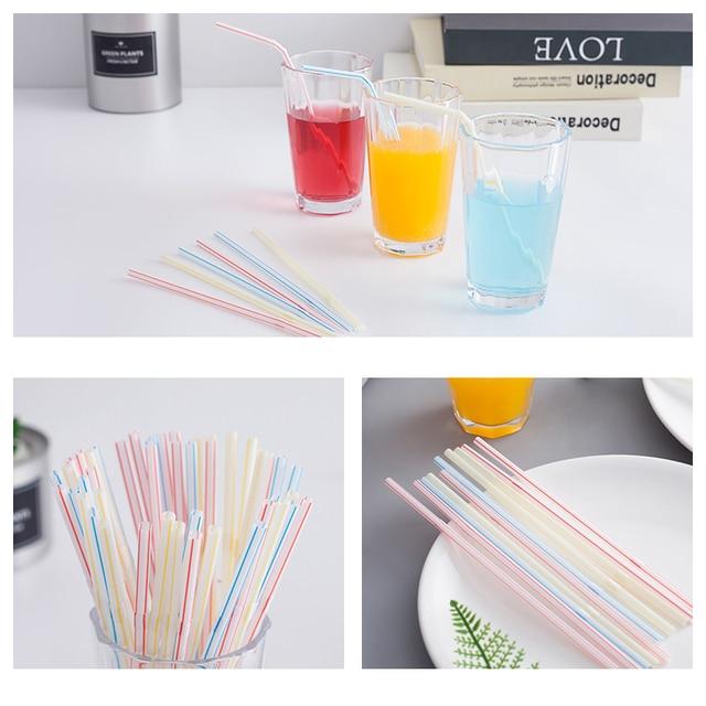 QDRR 300 Pack Disposable Straws Flexible Plastic Straws Striped Multi Color Rainbow Drinking Straws Bendy Straw Bar Accessories 2