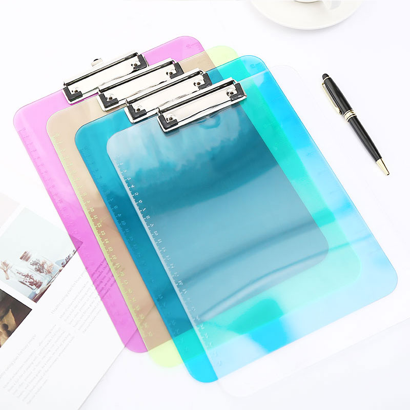 A4 Acrylic Clipboard Transparent Writing Drawing Office Pads Paper Exam Storage Clip Board Stationery For School Supplies
