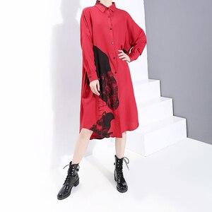 Image 3 - * חדש 2019 קוריאני נשים חורף אדום מודפס חולצה שמלה מלא שרוול דש גבירותיי באורך הברך מקרית שמלת Midi סגנון חלוק 5818