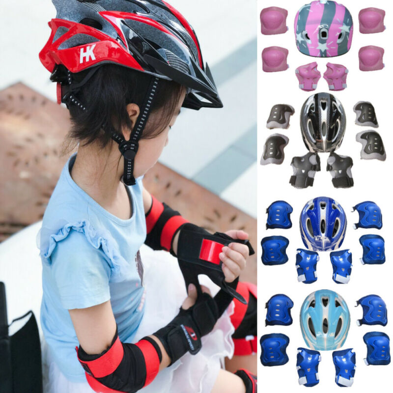 Kids Boy Girl Safety Helmet Knee Elbow Pad Sets For Cycling Skate Bike