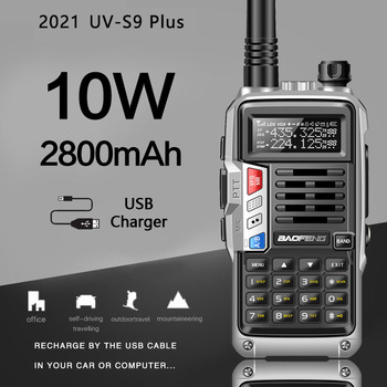 Baofeng UV-S9 plus 10w de alta potência dupla banda amador presunto handheld rádio em dois sentidos walkie talkie com 2800mah bateria