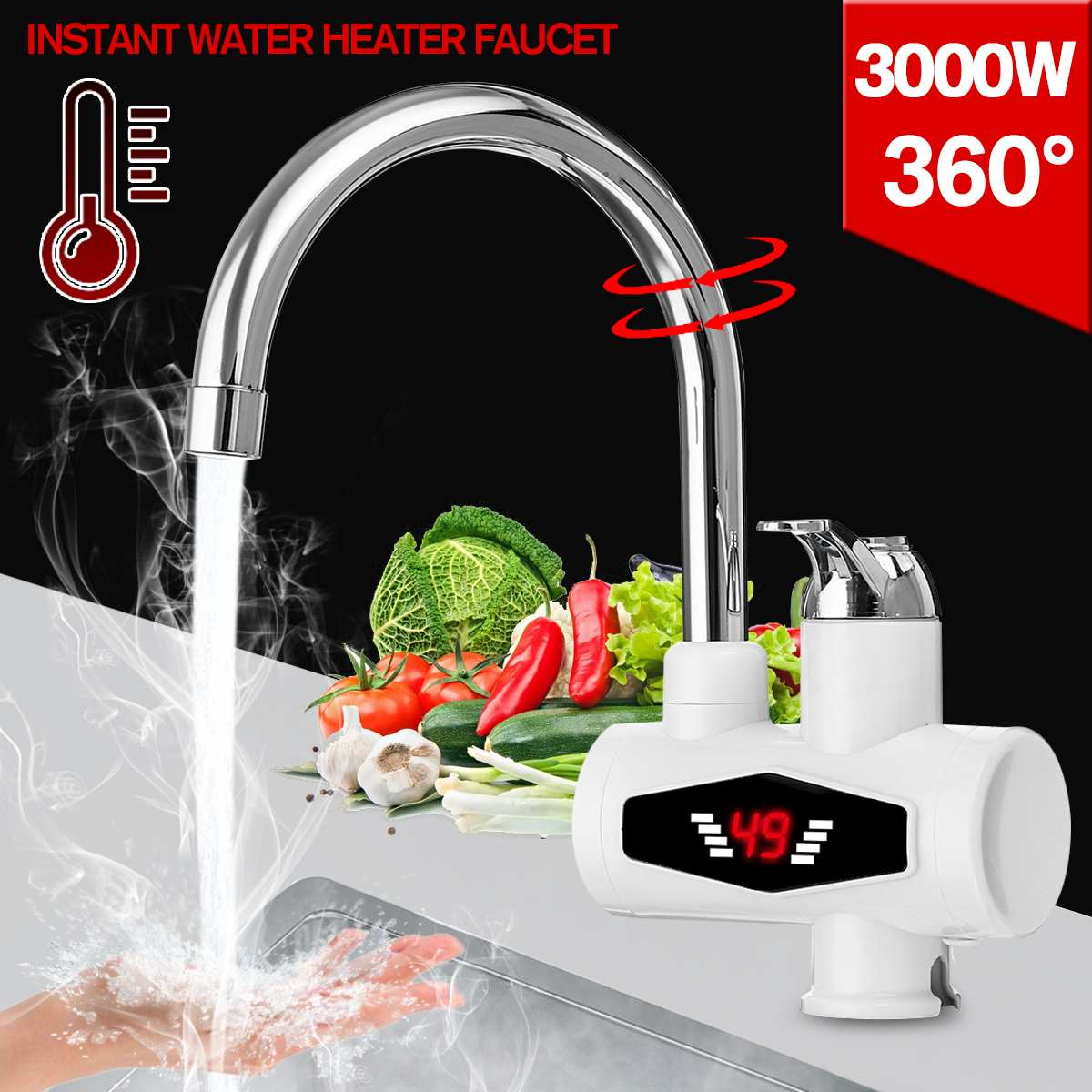 3000W Instant Tankless Electric Hot Water Heater Faucet Kitchen Instant Heating Tap Water Heater With LED AU Plug
