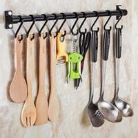 40cm 6 hooks/60cm 10 hooks Kitchen Utensil & Gadget Wall Hanging Rail Rack Bathroom Space Aluminium Holder Tools new 2019|Hooks & Rails| |  -