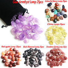 25Pcs Natural Runes Stones Chakra Amethyst Crystal Agate Silver Fortune telling Divination Rune Stone Healing Aquariums