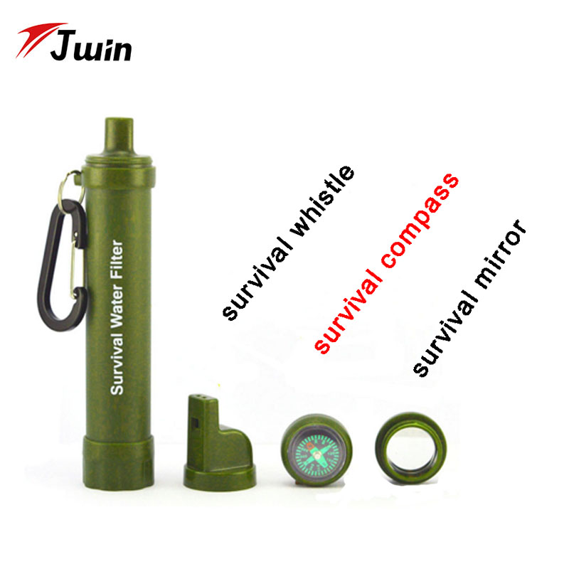 Wilderness Personal Water Filter Straw Survival Water Purifier Multi Filters With Whistle Compass For Camping In Outdoors