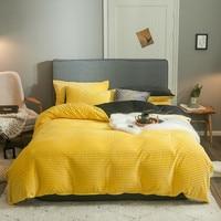 Winter bedding set warm yellow crystal velvet duvet cover set stripe fleece quilt cover sheet pillowcase soft flannel 3pc/4pc