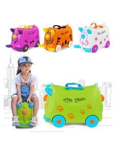 Suitcases Luggage-Stroller Hard-Case Travel Kids Children Fashion Modeling Green White