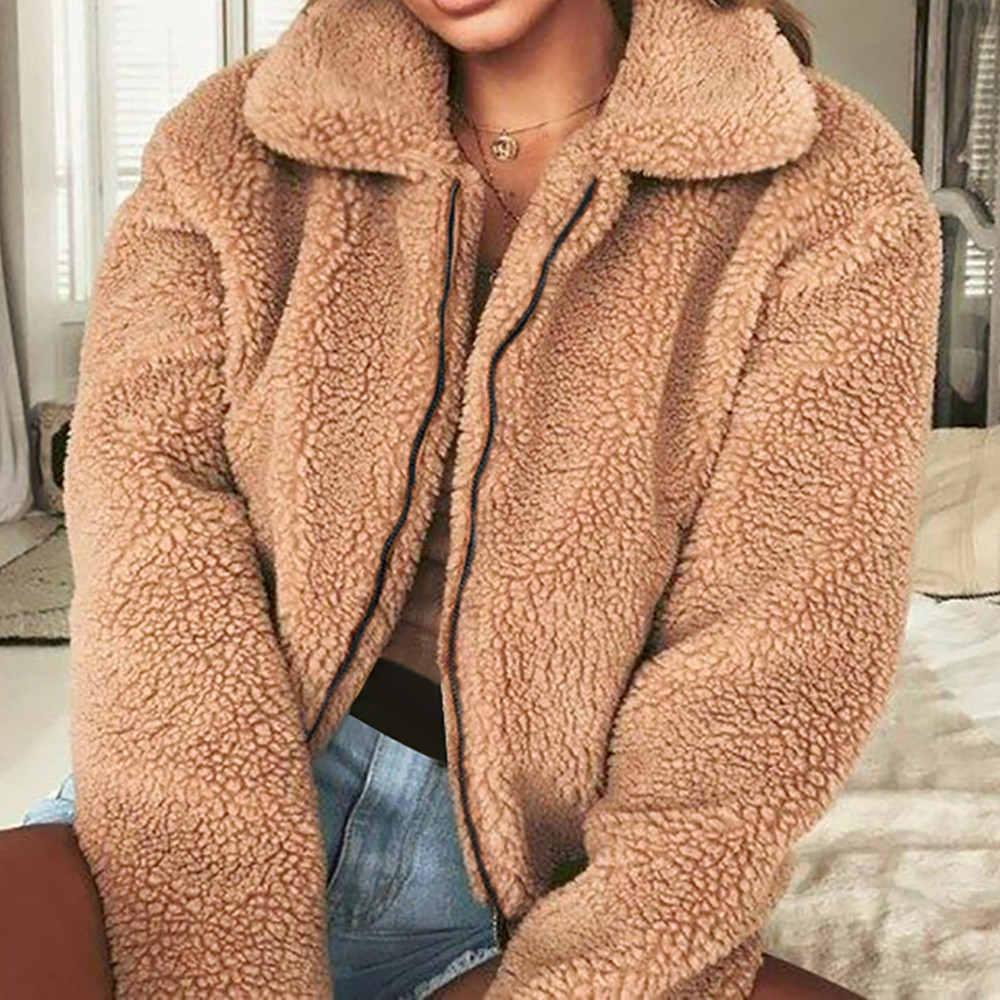 Teddy Coat Jacket Faux Fur Coat Women Autumn Winter Warm Fluffy Plus Size Long Sleeve Outerwear Turn Down Short Coat Female 2020