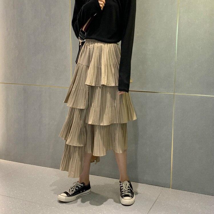 Fashion Women Girls High Elastic Waist Pleated Skirt Loose Irregular Cake Skirt Spring Summer New