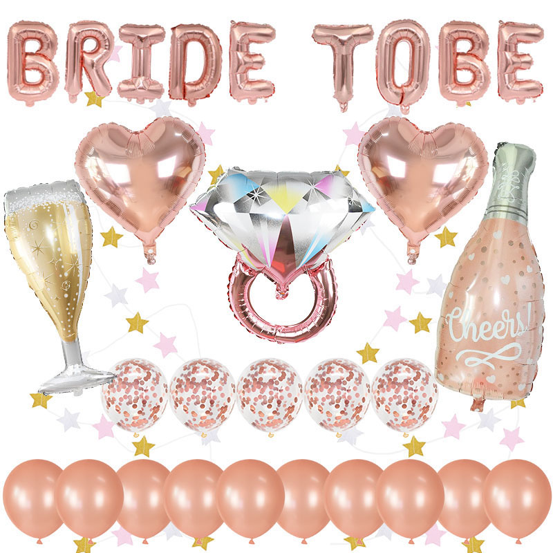 1Set Rose Gold Bride To Be Letter Foil Balloon Heart Wine Bottle Balloon Wedding Bridal Decoration Bachelorette Party Supplies