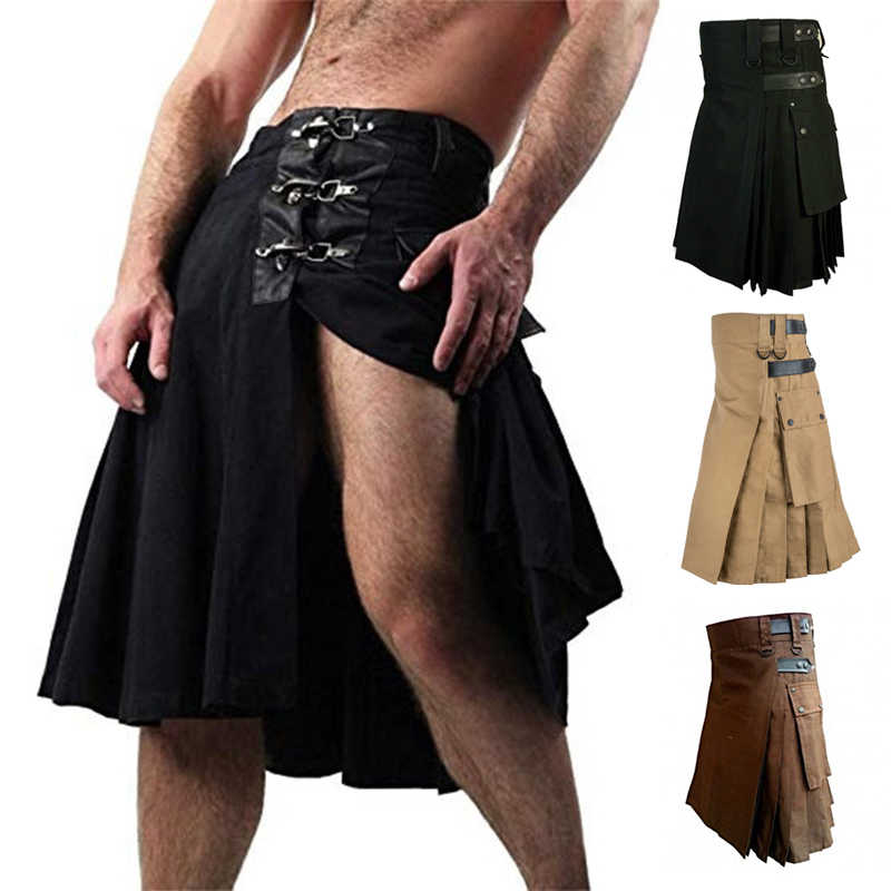 Schotse Heren Kilt Traditionele Rok Metal Classic Retro Traditionele Persoonlijkheid Kilts Controleren Patroon Mannen Rokken 2020
