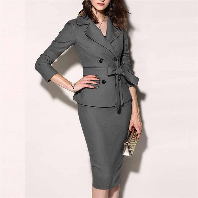 Jurk Jas Vrouwen 2019 vrouwen Pak Set Formele Suits Womens Sexy Schede O-hals Mini Jurk Kantoor Slijtage 2 Stuks sets Blazer