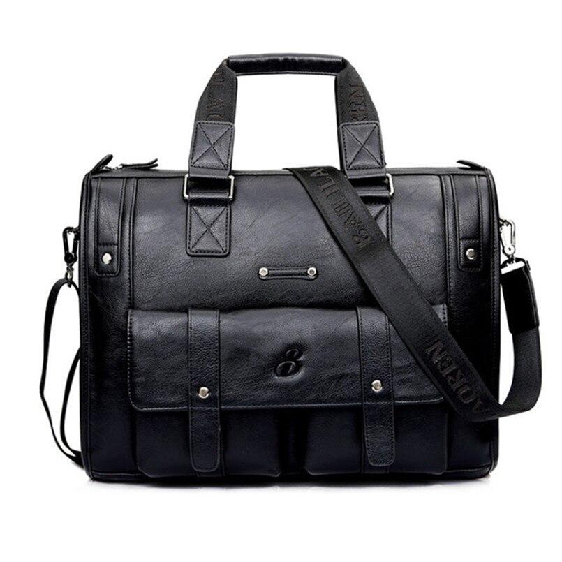 Hot Sale!New Leather Men Bag Briefcase Handbag Brand Designer Men Shoulder Bag Laptop Bag For 14