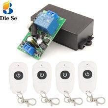 Mando a distancia inalámbrico Universal para puerta de garaje, 433MHz, ca 110V 220V 1CH, interruptor de relé RF y transmisor