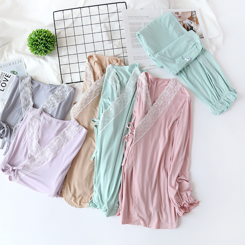 2 Pçs set Modal Maternidade Sleepwear Conjunto