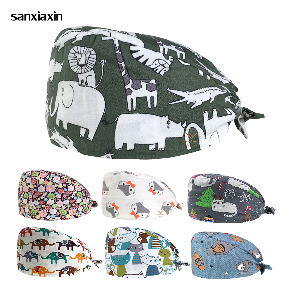 Sanxiaxin Cartoon Printed Scrub Caps Hospital Surgical Caps Dental Clinic Hats Pharmacist Working Hats Surgery Cap Doctor Hat