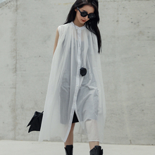 [EAM] 2021 New Spring Summer Stand Collar Sleeveless Black Perspective Loose Thin Big Size Dress Women Fashion Tide JU444
