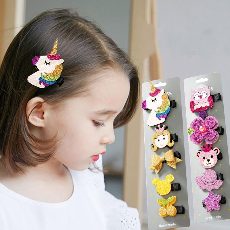 5PCS/Set Cute Cartoon Hair Clips For Children Girls Lovely Unicorn Hairpins Barrettes Headwear Hair Accessories Christmas Gifts