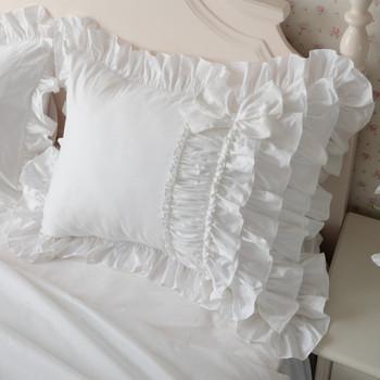 2 sztuk luksusowe ciasto warstwy wzburzyć poszewka biała europa handmade zmarszczek elegancka księżniczka poszewka na poduszkę poszewka na poduszkę bownot sweet tanie i dobre opinie Julliette Dream CN (pochodzenie) PRINTED Twill wyszywana 100 bawełna ZXYC Do hotelu 400tc Stałe Ekologiczne Jakość