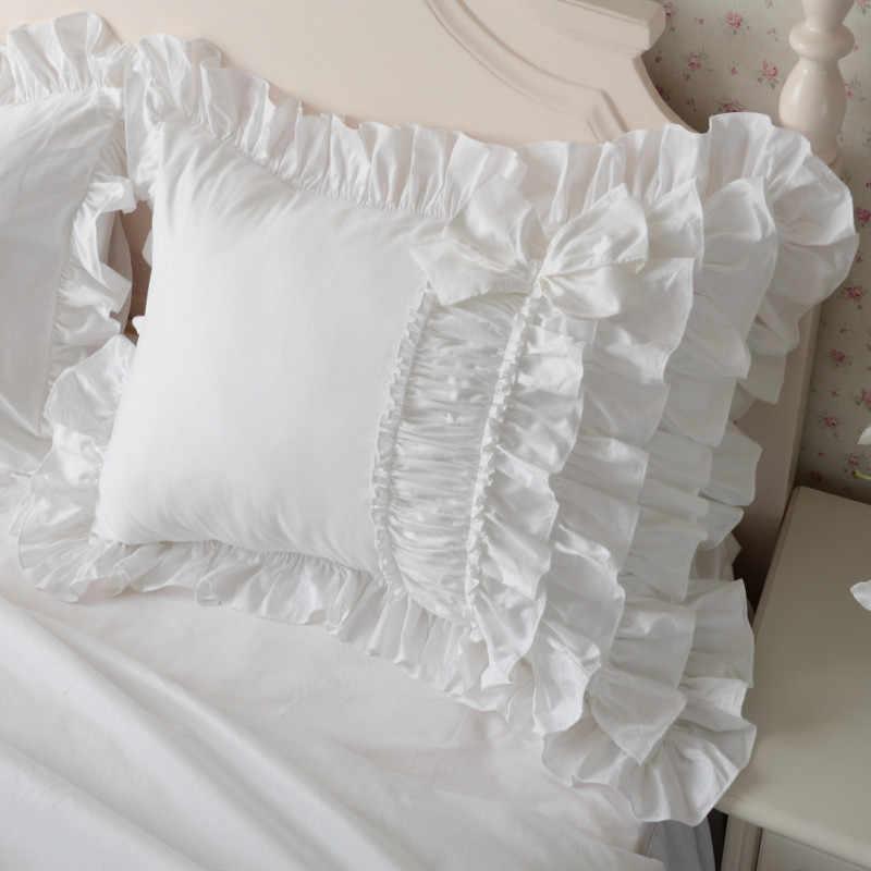 2pcs luxury cake layers ruffle pillowcase white europe handmade wrinkle elegant princess pillow case pillow cover bownot sweet