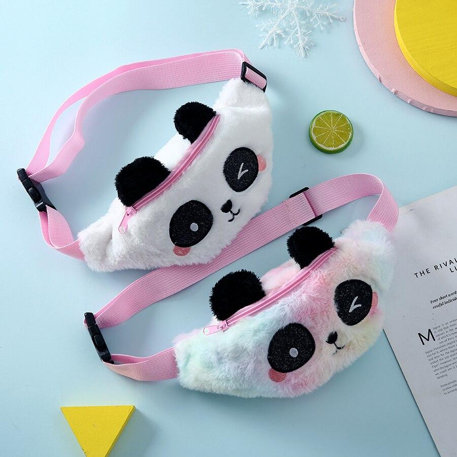 New Panda Waist Fanny Pack For Girls Lovely Cartoon Crossbody Bags Belt Rainbow Plush Kids Chest Bag Childrens Gift