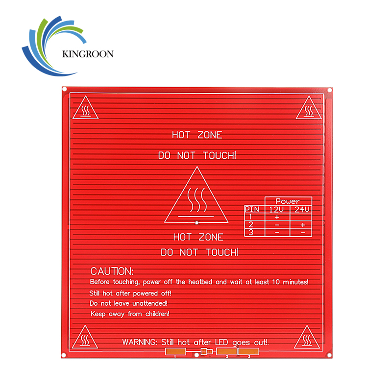 KINGROON Upgraded MK2B Heated Bed PCB Heatbed Dual 12V 24V Red MK2B HotBed 3D Printers Part Heat 214mmx214mm Accessories