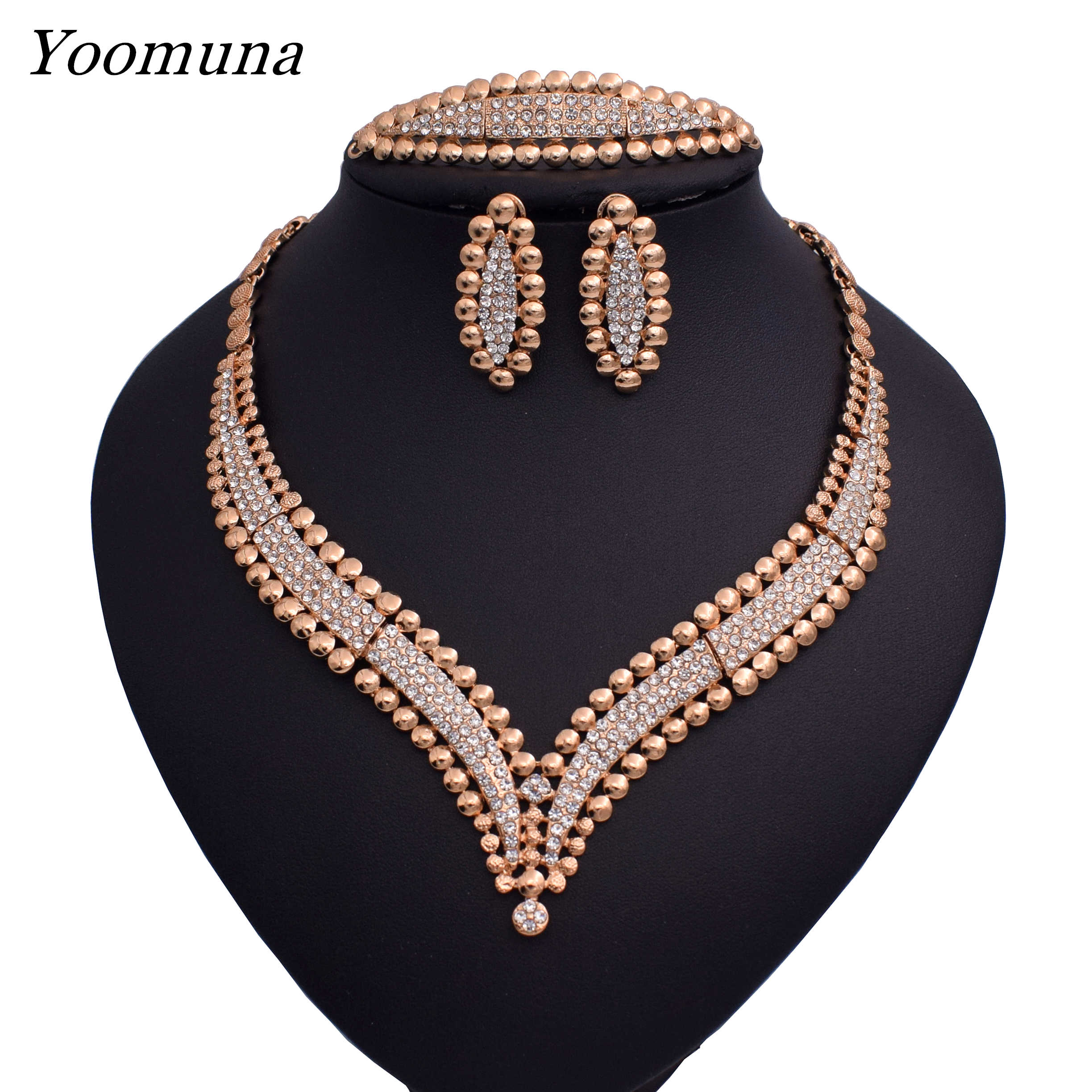 Dubai fashion  jewellery sets African women's wedding jewelry set silver / gold color fine necklace jewelry sets for women