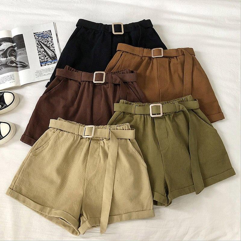Women Casual Sweet Solid Shorts Korean Female Summer Straight Shorts Mujer Elastic Waist Pockets Sashes Empire Mini Shorts