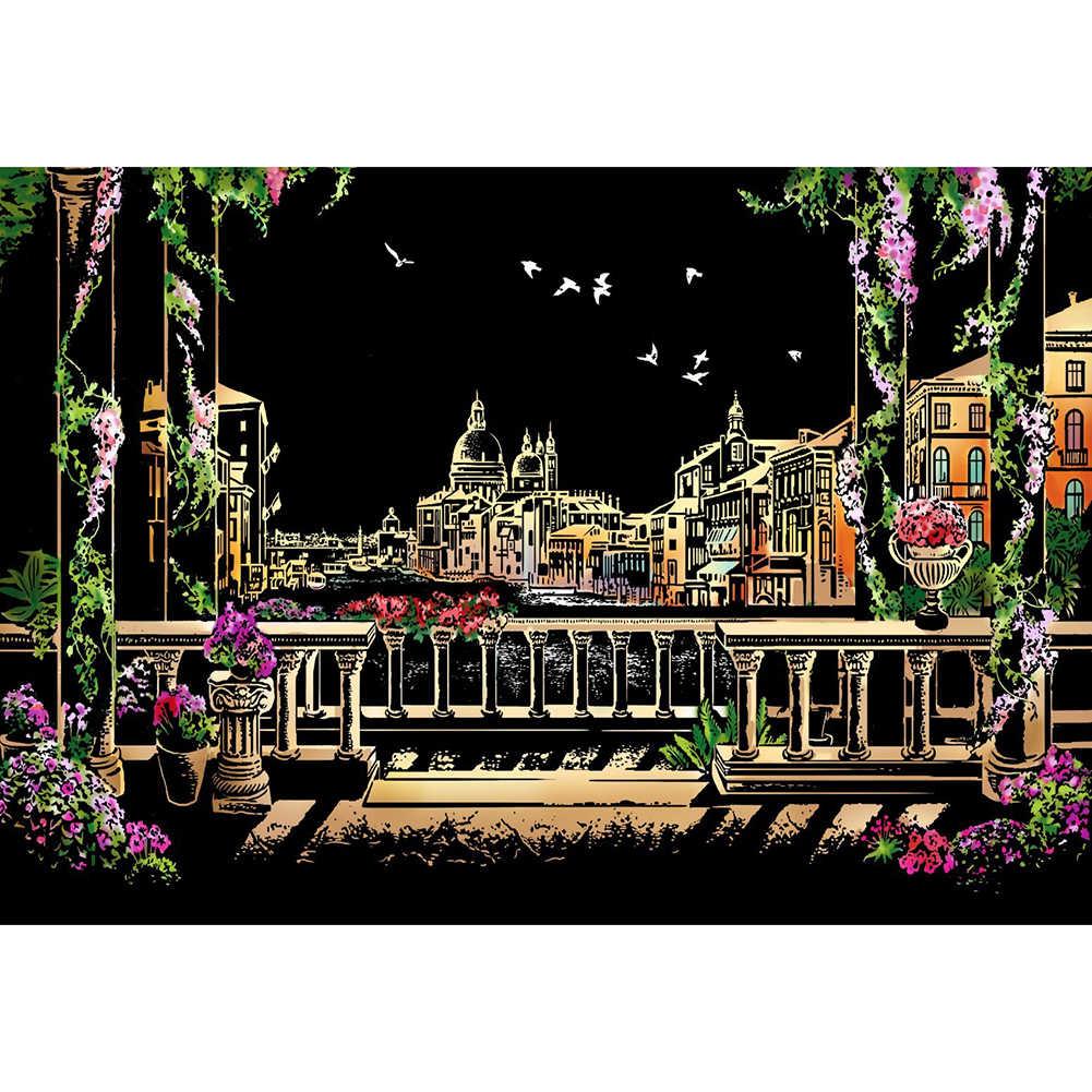 ונציה מים עיר DIY ציור תמונה שריטה ציור נייר צעצוע בית תפאורה צבועה בניין ילדים למבוגרים DIY צעצועי ציור מתנה